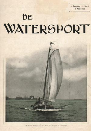 De Ludana parmantig op het omslag van De Watersport in 1912.