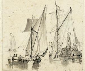 Twee voorstellingen van schepen, anoniem, 1700 - 1800 Collectie Rijksmuseum